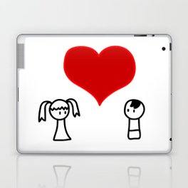 Cute boy and girl love doodle Laptop & iPad Skin