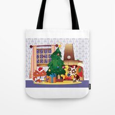 Merry Christmas Cat and Dog Tote Bag