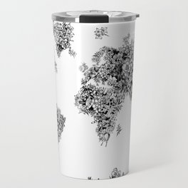 floral world map black and white Travel Mug
