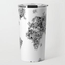 floral world map black and white Travel Mug