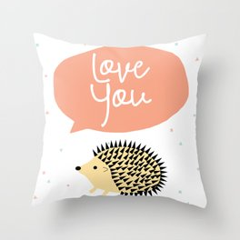 Hedgegog love Throw Pillow