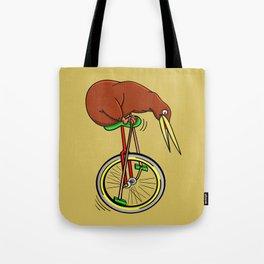 Kiwi Riding A Unicycle Tote Bag