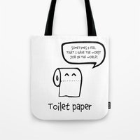 toilet Tote Bags featuring TOILET PAPER  by d.ts