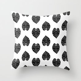 Leaf tropical linocut blockprinted stamp leaves black and white minimal modern pattern art print Throw Pillow