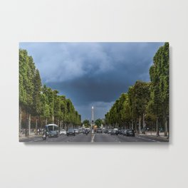 Paris France Champs Elysees Roads Cities Metal Print