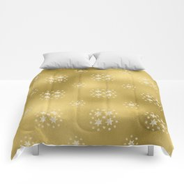 Merry christmas- white winter stars on gold pattern I Comforters