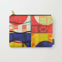 Red Blue Yellow Geometric Sun Abstract Art Carry-All Pouch