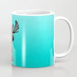 Cute Baby Moose Playing With Basketball Coffee Mug