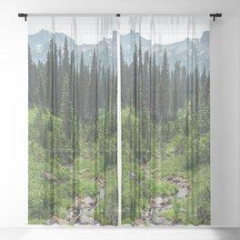 Mount Rainier Adventure IV - Pacific Northwest Mountain Forest Wanderlust Sheer Curtain