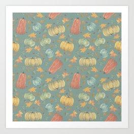 scattered autumn pumpkins on winter sky blue Art Print