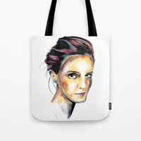emma watson Tote Bags featuring Emma Watson by caffeboy