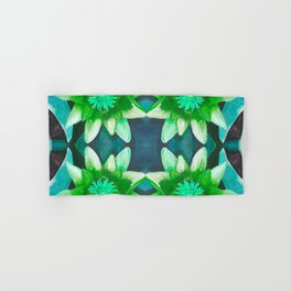 Teal Green Bromeliad Pattern Hand & Bath Towel