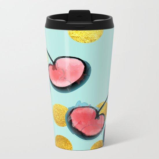 Cherry blue Metal Travel Mug