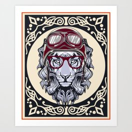 Lion With helmet rider Art Print