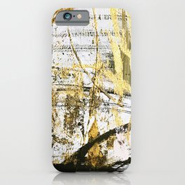 Armor [11]: a bold, elegant abstract mixed media piece in gold pink black and white iPhone Case