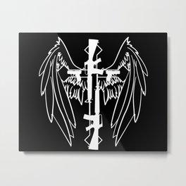 White Gun Cross with Wings Metal Print