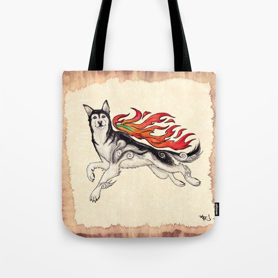 Marukomu Inukami ~ Ōkami Husky Dog Tote Bag