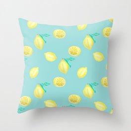 Citrus Lemon - Tropical Summer Fruit Pattern Throw Pillow