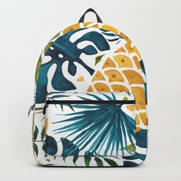 Golden pineapple on palm leaves foliage Backpack