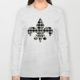 Fleur de lis white black 5 Long Sleeve T-shirt