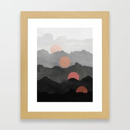 Abstract Mountains // Shades of Black and Grey Landscape Full Metallic Gold Moon Framed Art Print