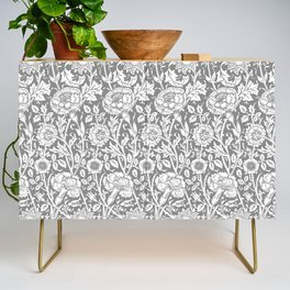 """William Morris Floral Pattern   """"Pink and Rose"""" in Grey and White Credenza"""