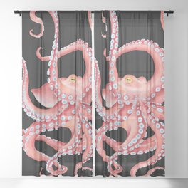 Red Octopus Tentacles Dance Watercolor Black Sheer Curtain