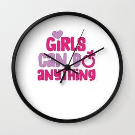 Girls Can Do Anything Feminist Women's Empowerment Wall Clock