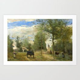 """Jean-Baptiste-Camille Corot """" Road on the outskirts of a town, in Brie"""" Art Print"""