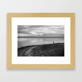 The fishing shadow Framed Art Print