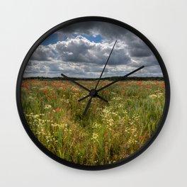 Wheat Field Flowers Wall Clock