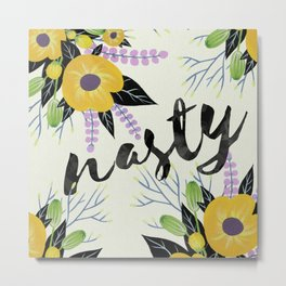 Nasty - Poppy Floral Yellow Metal Print