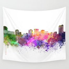 Norfolk skyline in watercolor background Wall Tapestry