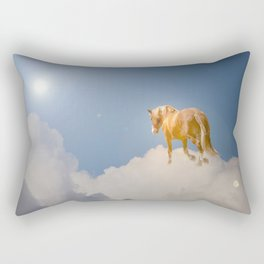 Walking on clouds over the blue sky Rectangular Pillow
