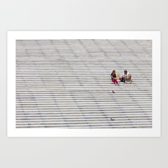 Sitting Stairs Art Print