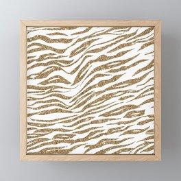 White & Glitter Animal Print Pattern Framed Mini Art Print
