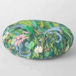 Improbable Botanical with Dinosaurs - dark green Floor Pillow