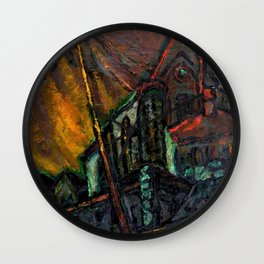 The Church, midnight cityscape painting by Edith Desternes Wall Clock