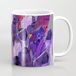 PURPLE AMETHYST CRYSTALS GREY ART Coffee Mug