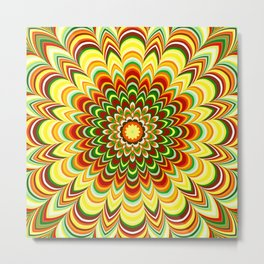Colorful flower striped mandala Metal Print