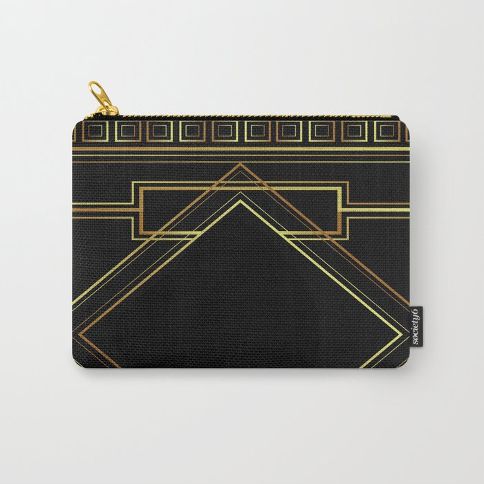 art deco gatsby black and gold lines geometric pattern Carry-All Pouch