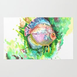 Aquarium Fish, Green Rainbow colors, Discus, Pink Green Illustration Rug