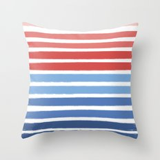 Summer Stripe - Nautical, classic, blue, red, pink, trendy cell phone case Throw Pillow