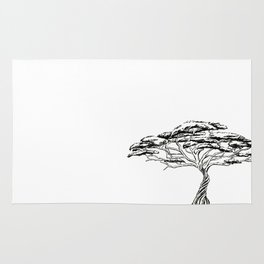 Whistling Thorn , Zen Bonsai African Tree Black and White Rug