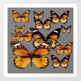 DECORATIVE BUTTERSCOTCH & TOFFEE BROWN BUTTERFLIES ART Art Print