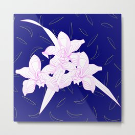 Pink and White Orchids, Navy Background Illustration Metal Print