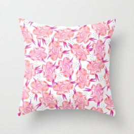 Hand painted pink coral black watercolor floral Throw Pillow