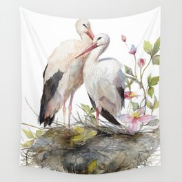 Stork Nest in Spring, Nature, Clematis, Botanicals, Blossoms Wall Tapestry