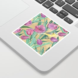 Blue Headed Wagtail in the Tulips Sticker