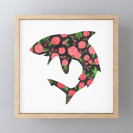Floral Shark Framed Mini Art Print